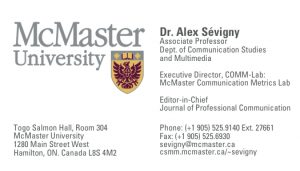 AlexSevigny Business Card Front